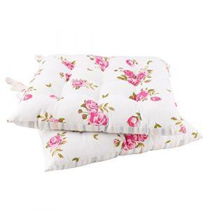 Dibor - Juego de 2 Cojines de Banco de algodón con Estampado Floral Blanco Vintage para Exteriores 9