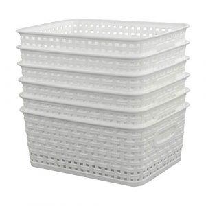 Sandmovie - Cestas Tejidas de plástico, 6 Unidades, Color Blanco 5