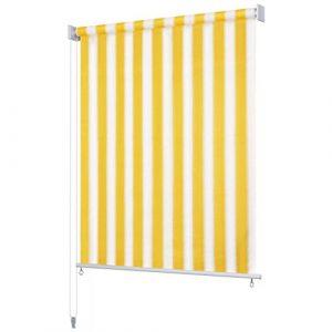 Festnight Persiana Enrollable de Exterior Toldo Vertical para Balcón, Patio, Porche o Pérgola A Rayas Amarilla y Blanca 1