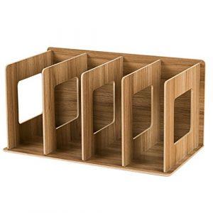 Hipsteen creativos DIY Desktop, diseño de Madera Libro Storage Rack CD de Soporte sujetalibros Oficina estanterías 8