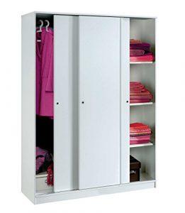 Armario Color Blanco Brillo Grande de 3 Puertas correderas, estantes Regulables, Barra Interior incluida de Dormitorio. 200cm Alto x 150cm Ancho x 55cm Fondo 2