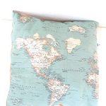 Cojin Azul mapa mundo, mapamundi 45 x 45 cm Un regalo original viajeros 13