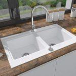 BRENOR Nubiru - Fregadero de cocina rectangular de granito con desagüe desplegable, tamaño 79,5 x 45,5 cm, blanco 14