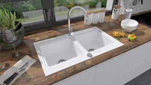 BRENOR Nubiru - Fregadero de cocina rectangular de granito con desagüe desplegable, tamaño 79,5 x 45,5 cm, blanco 6