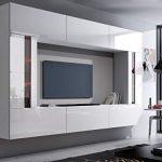 HomeDirectLTD Future 28, Conjunto de Muebles De Salón, Módulo Bajo para TV Y Multimedia, Unidad de Entretenimiento, Mueble TV, Suite a Estrenar (Iluminación RGB LED Opcional) (28_HG_W_2, Azul LED) 13