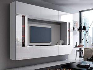 HomeDirectLTD Future 28, Conjunto de Muebles De Salón, Módulo Bajo para TV Y Multimedia, Unidad de Entretenimiento, Mueble TV, Suite a Estrenar (Iluminación RGB LED Opcional) (28_HG_W_2, Azul LED) 10