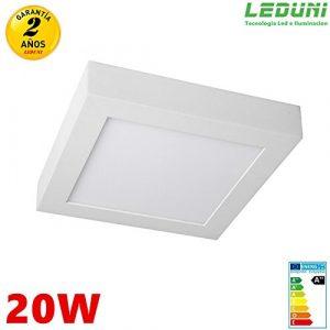 Panel LED Superficie cuadrado 20W Marco blanco interior (LUZ FRIA) 6