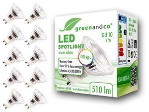 10x Spot LED greenandco® IRC90+ GU10 7W (corresponde a 60W) 510lm 3000K (blanco cálido) SMD LED 36° 230V AC, sin parpadeo, no regulable 7