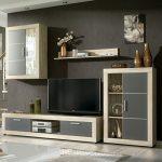 HomeSouth - Mueble de comedor con leds, salon vitrina modelo Fiordo, acabado color Cambria y Grafito, medidas: 259 cm de ancho 13