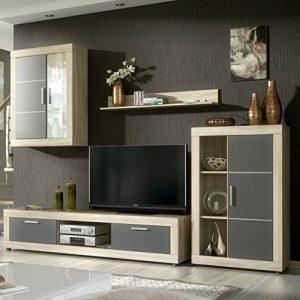 HomeSouth - Mueble de comedor con leds, salon vitrina modelo Fiordo, acabado color Cambria y Grafito, medidas: 259 cm de ancho 4