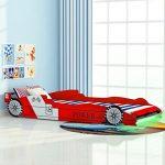 Vislone Cama para Niños Cama Infantil con Diseño de Coche Carreras y LED con Mando a Distancia DM y Listones de Madera Roja 90x200cm 15