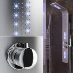 Panel de Ducha del Baño Sistema de la Torre de Agua Pantalla de Temperatura LED Pantalla Termostática con Ducha de Mano Jets de Masaje con lluvia Cascada Spray 14