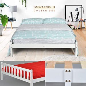 Estructura de la cama de pino macizo natural, resistente, color blanco, color transparente, blanco DOUBLE BED FRAME 10