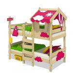 WICKEY Litera CrAzY Daisy Cama infantil Cama alta con techo, ventana, escalera y somier de madera, lona fucsia 11