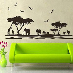 "'pared sticker4de pared adhesivo ""Sabana Negro | Efecto de: 160x 75cm | África Safari Elefante Jirafa Árbol Paisaje |-cuadro de pared-Adhesivo decorativo para salón, dormitorio, Cocina Gross 7"