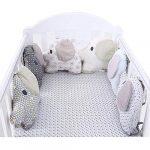 HB.YE 6 pcs Creativa barandilla cama del bebé, Cojín protector para cunas, Forma adorable del elefante Polka Dot cuna del sueño de la cama para los niños 13