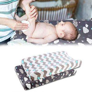 2pcs Funda Elástica para Cambiador De Bebé, Ultra Suave Tejido Elástico, Sábanas Unisex 5