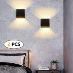 2 * 12W aplique de pared impermeable IP65, lámpara de pared ajustable, apliques pared interior blanca cálida 3000K apto para dormitorio y sala de estar. 14