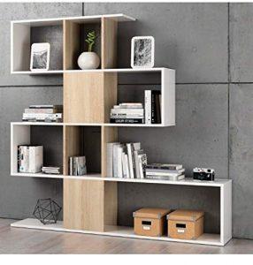 Habitdesign F00530301030_OAK Kafka D11 - Estantería libreria para oficina, comedor o salon, mueble en modelo zig zag acabado en color Blanco Brillo y Roble Canadian, 145 x 145 x 30 cm de fondo 9