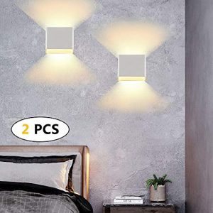 2 * 12W aplique de pared impermeable IP65, lámpara de pared ajustable, apliques pared interior blanca cálida 3000K apto para dormitorio y sala de estar 6