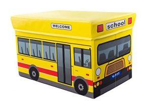 Clever Creations - Caja plegable con forma de otomana - Para guardar y organizar juguetes, libros, ropa, etc. - Ideal para una habitación infantil - Autobús escolar 8