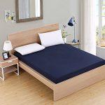 CYYCY Protector de colchón - Microfibra - Antiácaros - Transpirable - Funda para colchon,Set de Limpieza en Color Liso Azul Marino 90X200cmX25cm 12