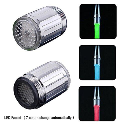 Grifo LED que cambia de color, 7 colores que cambian de color, con luz LED y cabezal de boquilla para grifo de ducha 1