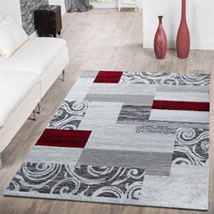 T&T Design Alfombra De Salón Económica Patchwork Diseño Moderno En Gris Rojo Blanco, Größe:120x170 cm 2