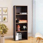 Estantería Librería Pequeña Simple con 4 Baldas de Almacenaje, Color Madera de Nogal, (118cmx 41.5cm x 29cm) 12