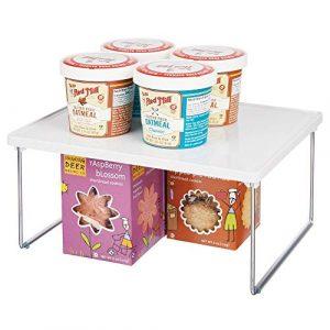 mDesign Platero de cocina - Estante para platos para la encimera y los armarios de la cocina - Accesorio organizador de cocina apilable, con patas plegables de metal - blanco 7
