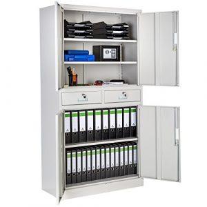 TecTake Armario archivador de Oficina metálico con 4 Puertas e 2 cajones bloqueable 180x90x40cm 3