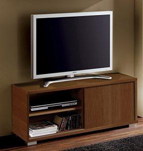 Abitti Mesa de TV módulo bajo Multimedia Color wengué con Puerta corredera y 4 estantes. Mueble de salón Comedor. 109cm Ancho x 40cm Fondo x 46cm Altura 6