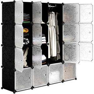 LANGRIA Armario estantería de 16 Cubos DIY Portátil, 1Barra para Colgar Ropa, Organizador Clasificador con Puertas para la Ropa, Zapatos, Accesorios, Paneles con Motivo Decorativo Rizado 10