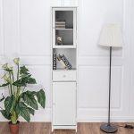 IKAYAA Librería Estantería de Almacenaje Mueble Armario de Almacenaje para Baño Medida:40 * 28 * 180 cm Color Blanco 12