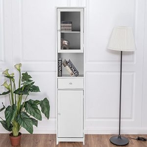 IKAYAA Librería Estantería de Almacenaje Mueble Armario de Almacenaje para Baño Medida:40 * 28 * 180 cm Color Blanco 7