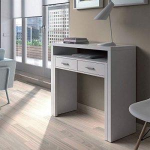 Habitdesign 004582BO - Mesa de Escritorio Extensible, Color Blanco Artik, 98.5 x 87.5 x 36-70 cm de Fondo 9