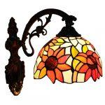 FABAKIRA Aplique Tiffany Lamp Vintage Mini Lámpara de Pared Iluminación para Interior y Exterior Girasol 11