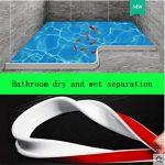 Tira de silicona para barrera de agua de baño Sello de mampara de ducha, tope de flujo de agua de baño flexible de silicona para la separación seca y húmeda del baño (150cm,gris) 15