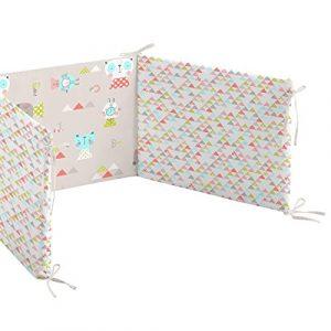 BURRITO BLANCO Chichonera Cuna/Protector de Cabeza 006 de Cuna de 60x120 cm para Bebé Algodón 100% (Relleno 400 gr 100% Poliéster) Diseño de Animales y Triángulos, Color Beige 8