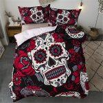 Juego de ropa de cama Sugar Skull Rojo Girasol y edredón de calavera Funda nórdica para Halloween Esqueleto gótico Skullon Decoración Juego de cama con 2 fundas de almohada Tamaño doble 200 * 200 cm 11