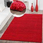 T&T Design Alfombra Shaggy Pelo Largo Moderna Monocolor En Rojo Precio Inmejorable, Größe:160x220 cm 16
