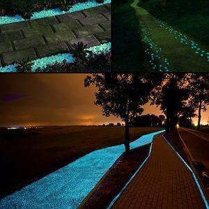 Middletone 100 piedras luminosas piedras fluorescente, se usan para el camino del jardín y la decoración, azul 10