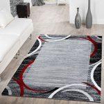 T&T Design Alfombra De Salón Moderna Económica con Ribete Semicírculos Jaspeada Gris Rojo, Größe:120x170 cm 11
