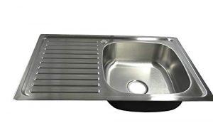 1x fregadero cocina fregadero empotrable Platillos Acero Inoxidable con estante y desagüe 80CML 50CMB 7