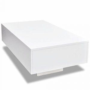 Nishore Mesa de Centro Rectangular Moderno Mesa Auxiliar de Salon Blanca con Brillo 85 x 55 x 31 cm 9