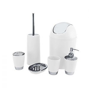 Shine - Juego de Accesorios para baño (6 Piezas, 26,2 x 20,4 x 19,4 cm), Color Blanco 3