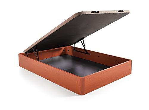 HOGAR24.es. Canapé abatible Madera Gran Capacidad con Tapa 3D y válvulas de transpiración, incorpora esquineras en Madera Maciza, Color Cerezo 135X200 1