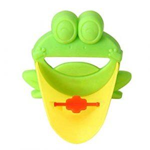 Isuper 8 × 11 cm en Forma de Rana Grifo del Fregadero con el desviador Extender Extender la manija de baño de Dibujos Animados Boquilla Extender para bebés, niños pequeños, niños-Green 6
