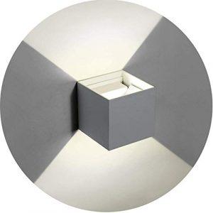 Topmo-plus 6w Lámpara de pared LED Luces de pared de aluminio ajustables ligeros Aplique interior/Externo corredor/jardín impermeable IP65 10CM 660LM (gris/Blanco natural) 2
