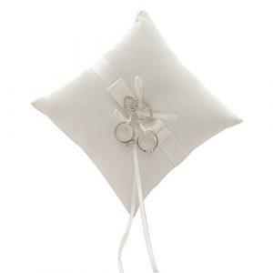 awtlife double-heart Rhinestone anillos de boda almohada Marfil cojín portador 7Inch 1